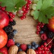 Thankgiving board with lots of fruits — Stock Photo