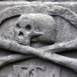 Crossbones on a grave — Stock Photo