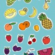Stock Vector: Set of fruits and berrys stickers