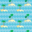 Seamless pattern with palms and islands - Stock Vector