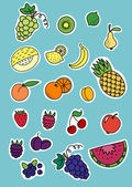 Set of fruits and berrys stickers — Stock Vector