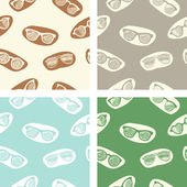 Set of seamless patterns with retro glasses — Stock Vector