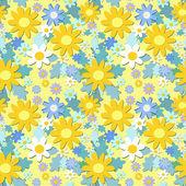 Yellow flowers seamless pattern — Stock Vector