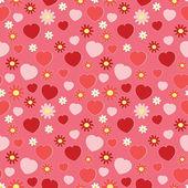 Naadloze patroon met hartjes en bloemen — Stockvector