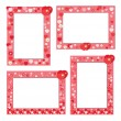 Stock Vector: Red frame with hearts and flowers