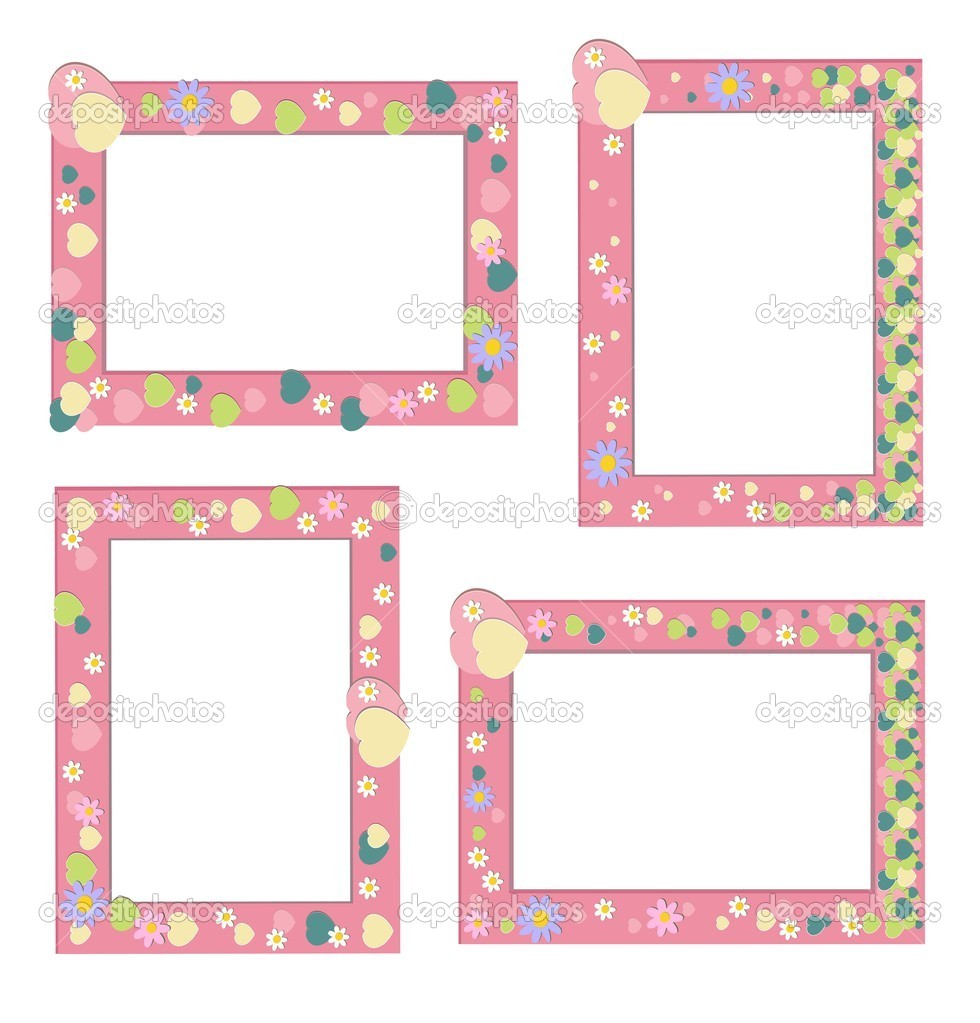 Pink frame with hearts and flowers, eps 8 — Stock Vector #11147326