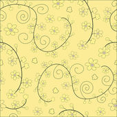 Yellow seamless floral pattern — Stock Vector