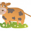 Funny cow standing on grass and smiling — Stock Vector