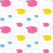 Stock Vector: Seamless pattern with funny pigs