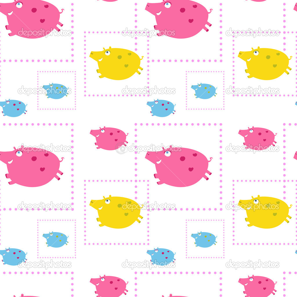 Kids seamless ornament with decorative pigs, eps 8 — Stock Vector #11755967