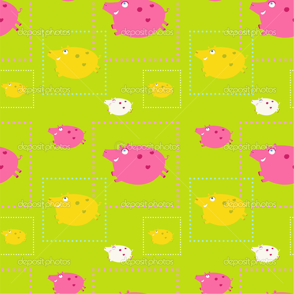 Seamless funny pattern with funny pigs, eps 8 — Stock Vector #11755969