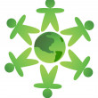 Green men protect earth — Stockvector #11952081