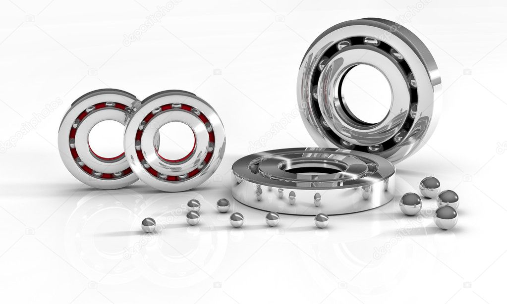 Industrial image with ball bearings on white background — Stock Photo #10883980