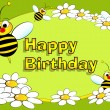 Bee and flowers - Birthday card — Stock Vector #11158708