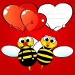 Stock Vector: Valentine Card with bees