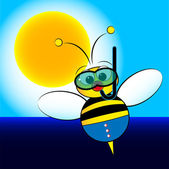 Bee on holiday — Stock Vector