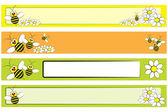 Set di banner web - ape e margherite per bambini — Vettoriale Stock