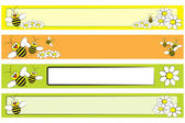 Web Banner set - Bee and daisies for children — Stock Vector