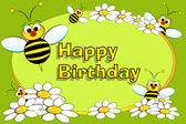 Bee and flowers - Birthday card — Stock Vector