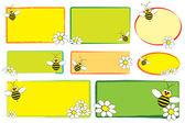 Etichette di capretto - ape e margherite — Vettoriale Stock