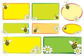Kid labels - Bee and daisies — Stock Vector
