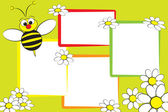 Kid scrapbook - Bee and daisies — Stock Vector