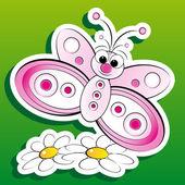 Farfalla e fiori - illustrazione di capretto — Vettoriale Stock