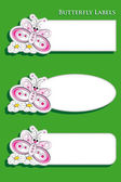 Labels for kids with butterfly — Stock Vector