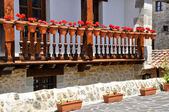 Balcony with flowers, Cantabria (Spain) — Stock Photo