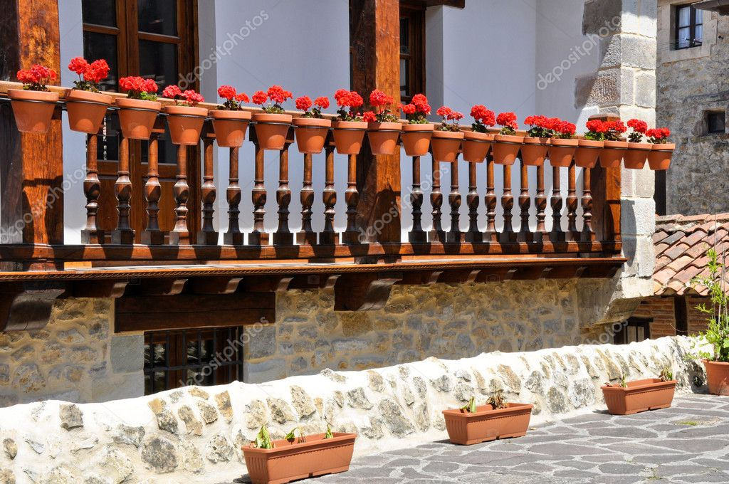 Balcony with flowers, Cantabria  (Spain)  Stock Photo #11588600