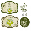 Vintage green olive label set — Stock Vector