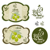 Vintage green olive label set — Stock Vector