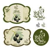 Vintage black olive label set — Stock Vector