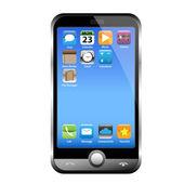 A silver phone width a blue screen — Stock Vector