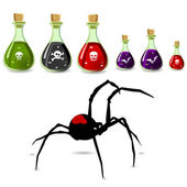 Poisons and spider — Stock Vector