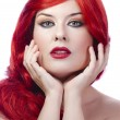 Portrait of beautiful woman, she has red lipstick - Stockfoto