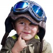 A baby pilot with huge hat and glasses, isolated. — Stock Photo #11303410