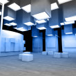 Art gallery with blank frames, modern building, conceptual archi — Stock Photo #11303747
