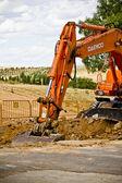 Construcción con equipos de excavación — Foto de Stock