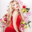 Flower queen in a red dress — Stock Photo #10824111