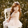 Stock Photo: Cute child girl at camomile field