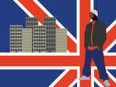 Abstract man on england flag — Stock Vector