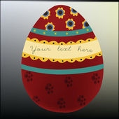 Traditional painted easter red egg for your text — Stock Vector