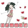 Summer girl design with butterflies — Stock Vector