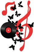 Vinyl design with butterflies — Stock Vector