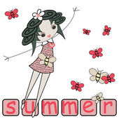 Summer girl design with butterflies — Stock Vector