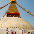 The Buddhist stupa of Boudhanath - Stock Photo