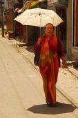 A woman on the street in Kathmandu, Nepal — Stock Photo