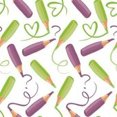 Back to school green and purple crayon pattern — Stock Vector