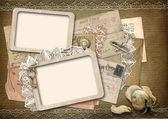 Vintage background with old frames — Stock Photo